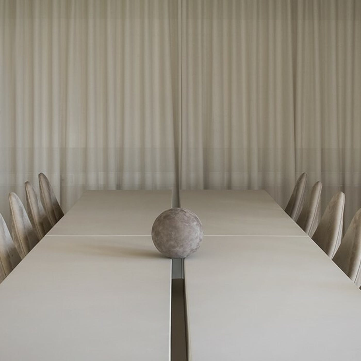 4 Our bespoke conference table and Drop Chairs by Arne Jacobsen from Fritz Hansen all crafted with Sørensen Leather Photo Jonas Bjerre Poulse