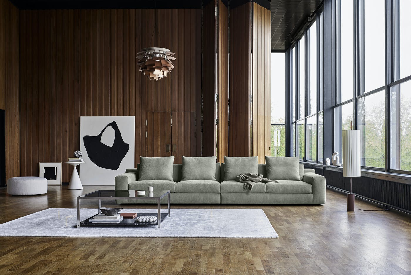 Aton sofa 366x109 cm Level 24 with Wheel footstool Stick carpet Frame table Envir 87871