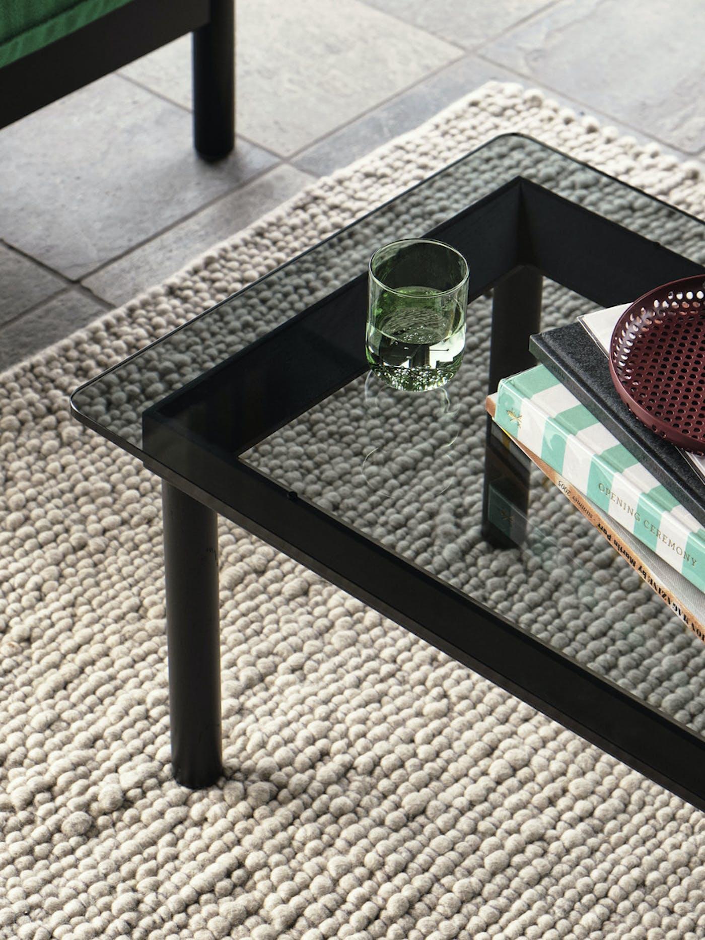 Kofi 140x50 grey tinted glass tabletop black wb lacquer oak frame Peas Random soft grey Tint Tumbler green