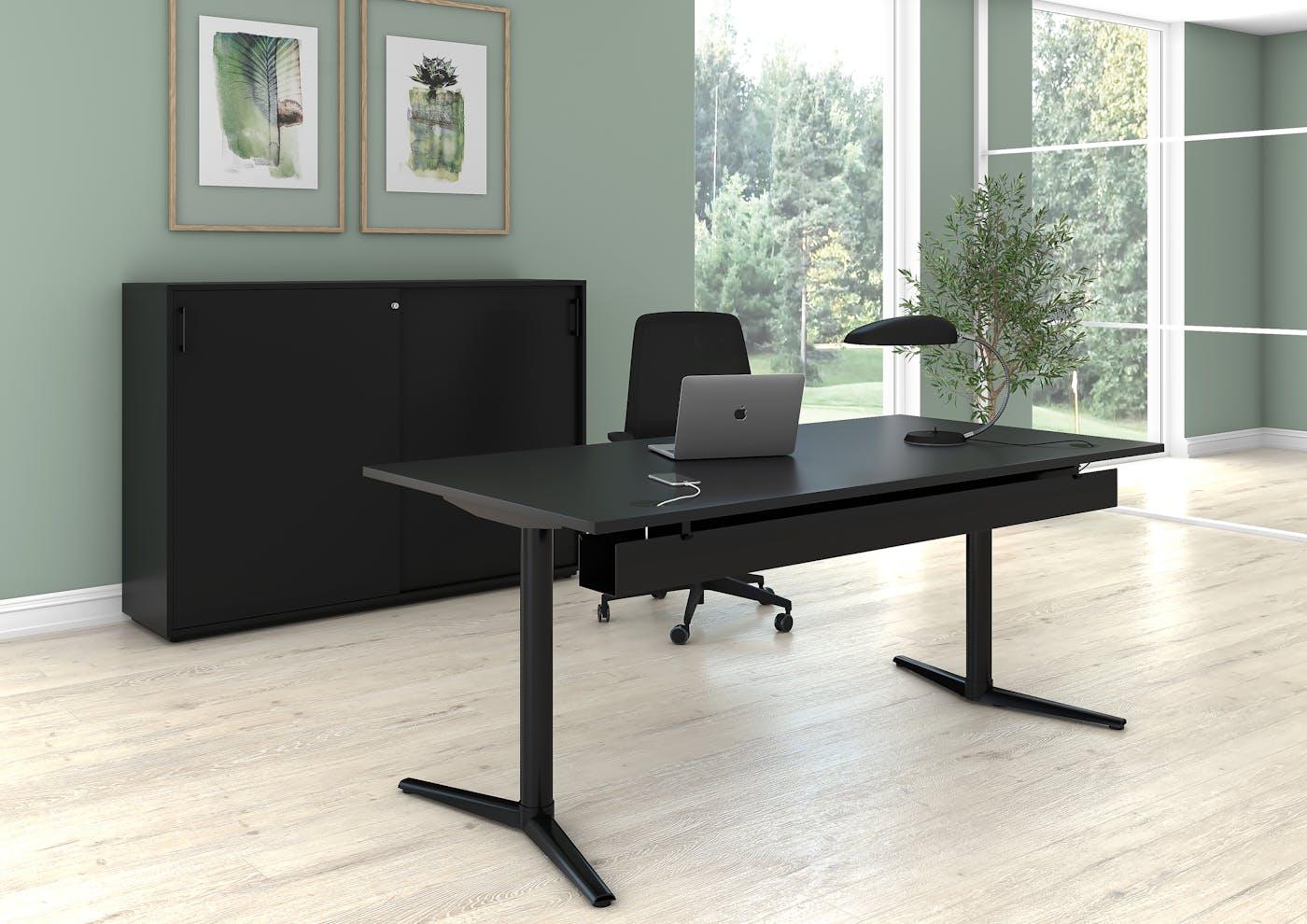 SWITCH skrivebord sort sort skydedørsskab sort