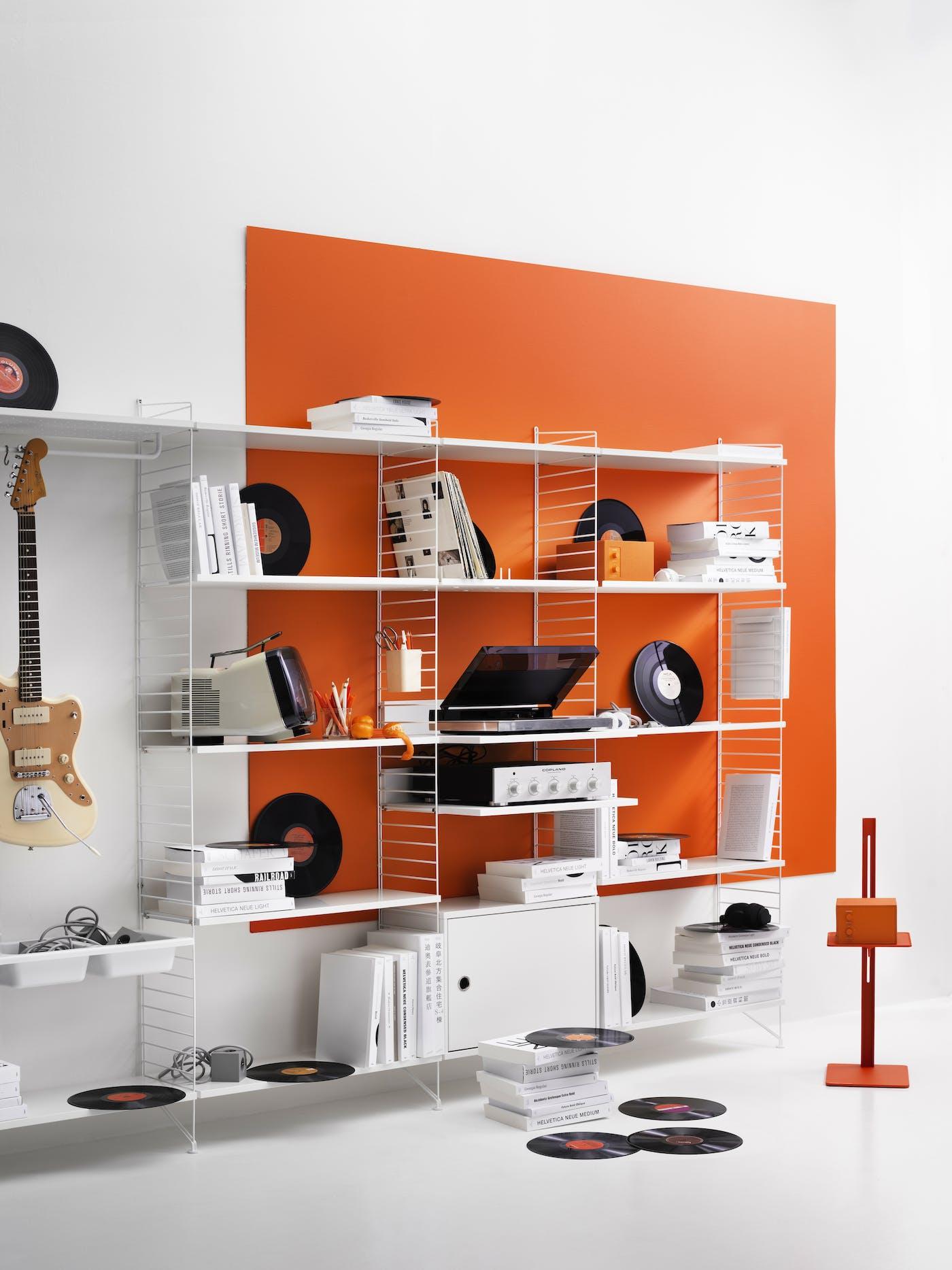 Inspiration string system museum living room white orange accessories metal floor panels portrait