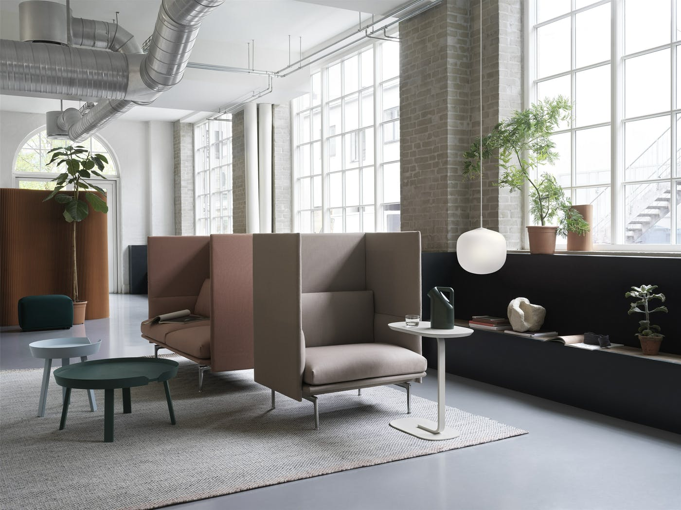 Outline highback 1 seater twill weave 230 2 seater twill weave 530 around relate rime pendant V2 muuto org 150